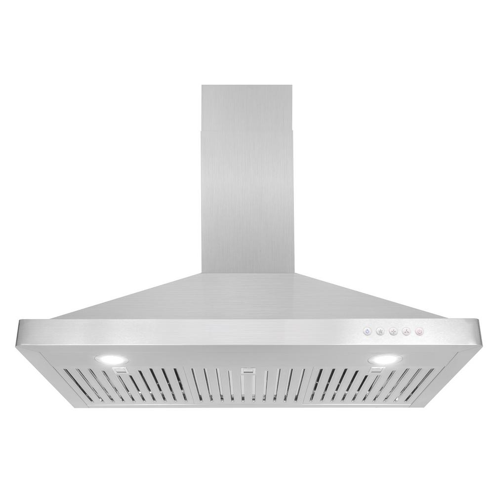 36 in. Ducted Wall Mount Range Hood in Stainless Steel with