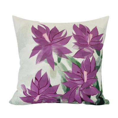 18 in. Christmas Cactus Floral Print Decorative Pillow
