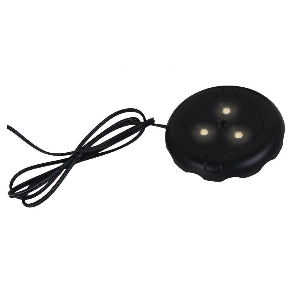 Commercial electric 3 light black led puck light kit 21353kit bk ambiance 12 volt black led disk light 3000k aloadofball Gallery