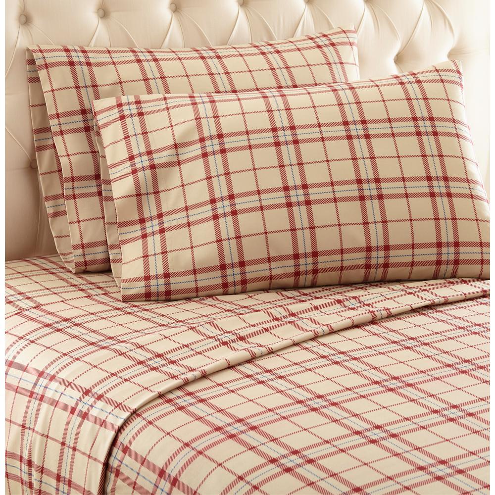 Micro Flannel 3 Piece Carlton Plaid Tan Twin Polyester Sheet Set