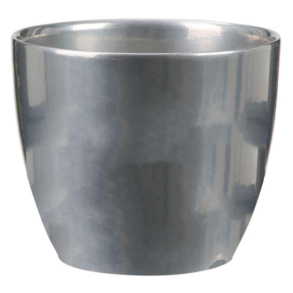 10 in. Dia Metal Ceramic Pot