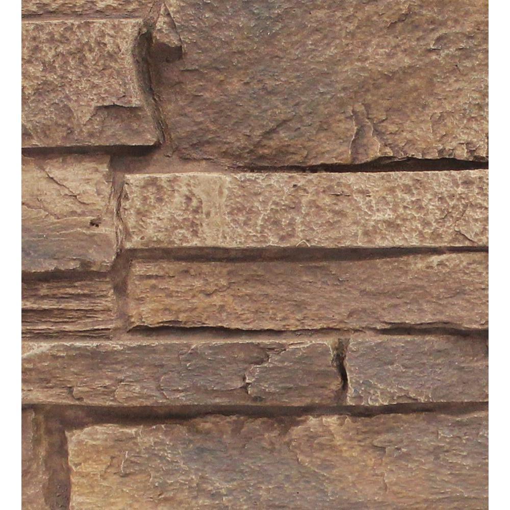 Adobe Brown 8 in. x 8 in. x 3/4 in. Faux Mountain Ledge Stone Sample