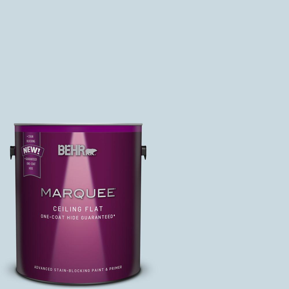 BEHR MARQUEE 1 gal. #MQ3-53 Tinted to Sky Light View One-Coat Hide Flat Interior Ceiling Paint and Primer in One