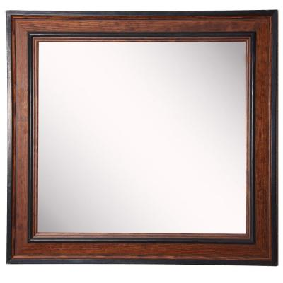 12 in. W x 12 in. H Framed Square Bathroom Vanity Mirror in Brown