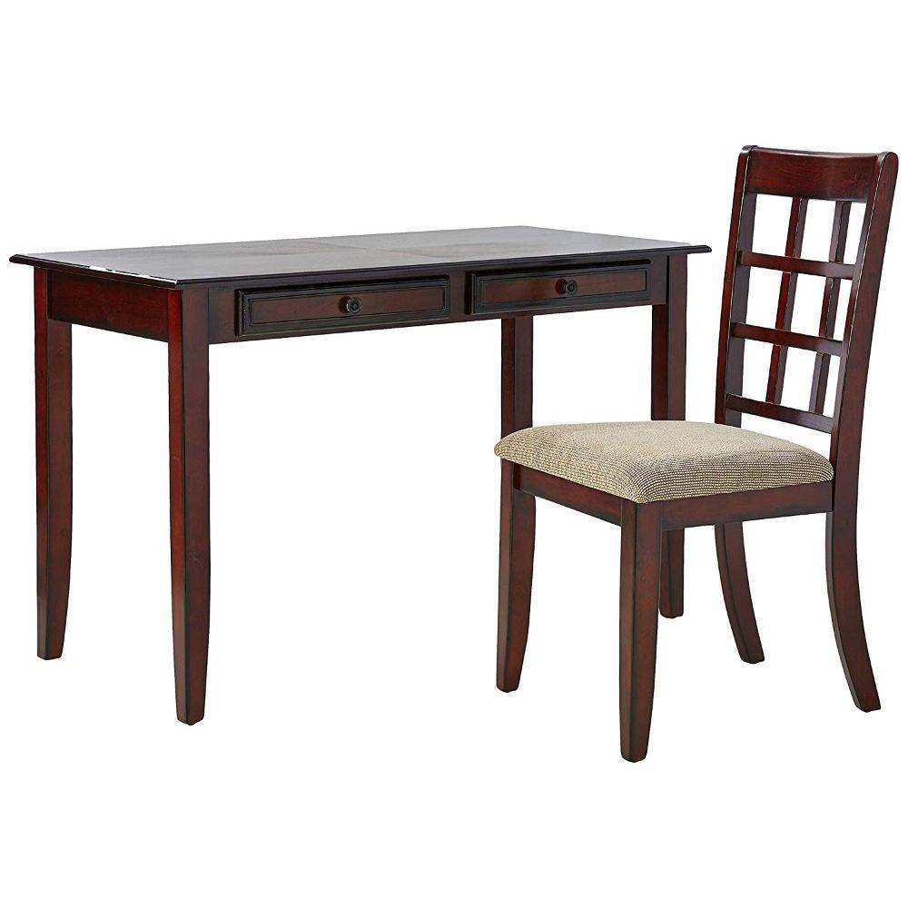 24 in. Rectangular Brown 2 Drawer Writing Desk