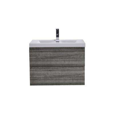 Bohemia 30 in. W Bath Vanity in High Gloss Ash Gray with Reinforced Acrylic Vanity Top in White with White Basin