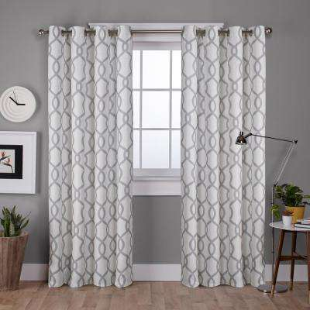 Kochi 52 in. W x 108 in. L Linen Blend Grommet Top Curtain Panel in Dove Gray (2 Panels)