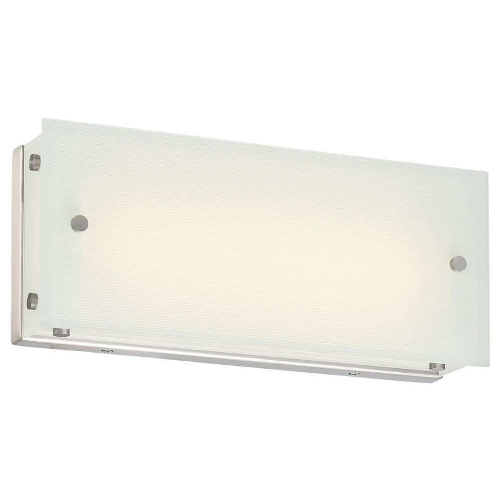 Button 17-Watt Brushed Nickel Integrated LED Bath Light