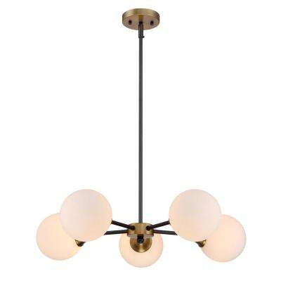 5-Light Oiled Rubbed Bronze Chandelier with White Opal Glass Shade