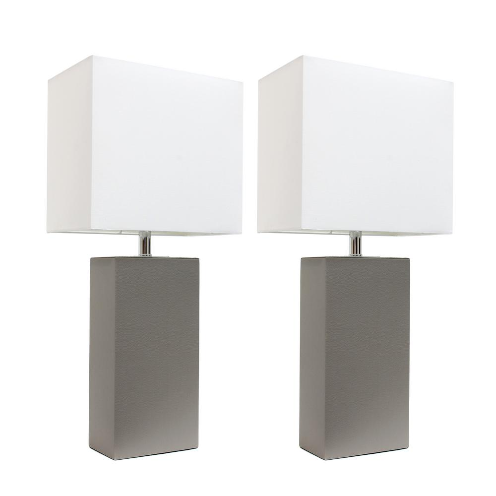 Elegant Designs 21 In Modern Gray Leather Table Lamps With White Fabric Shades 2