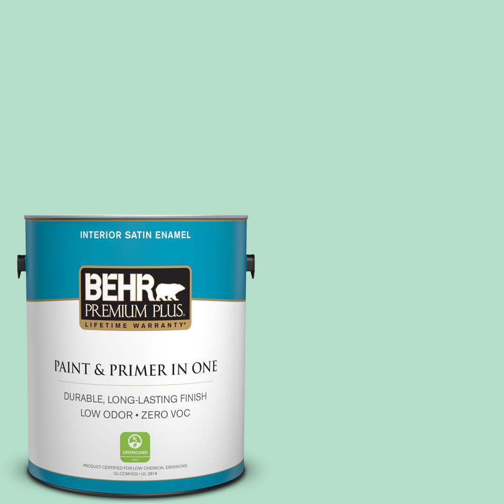 1-gal. #480C-3 Aqua Bay Zero VOC Satin Enamel Interior Paint