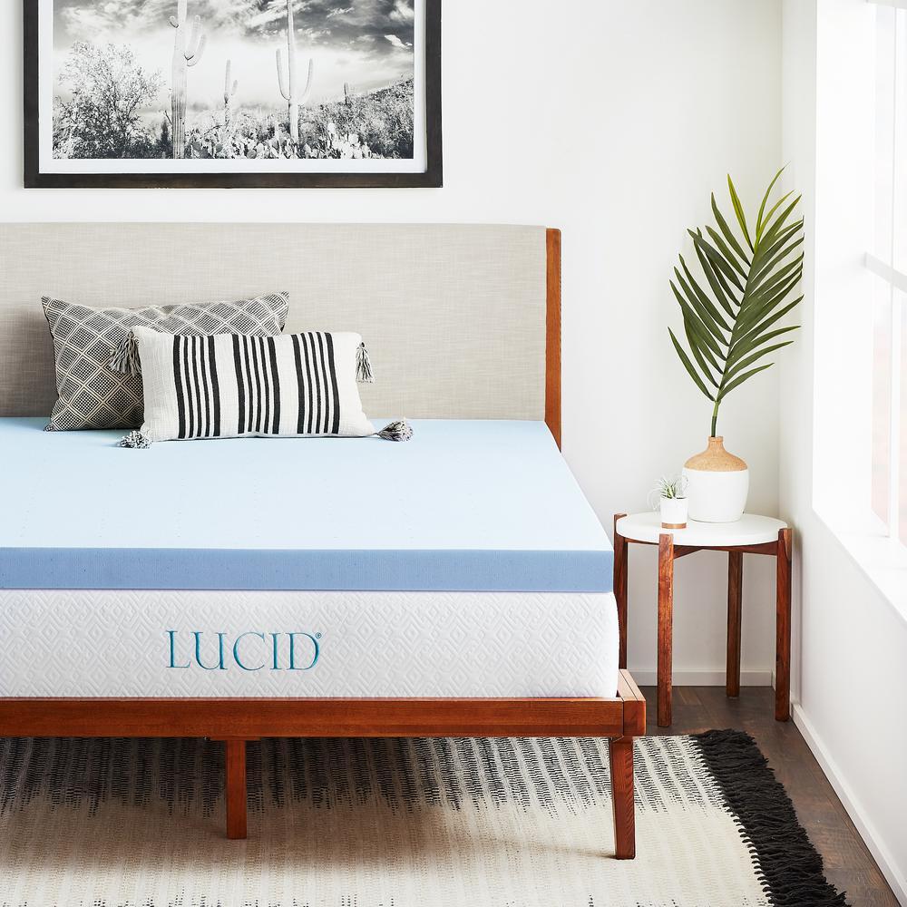 lucid 3 in twin gel infused memory foam mattress topper hdlu30tt30gt the home depot. Black Bedroom Furniture Sets. Home Design Ideas