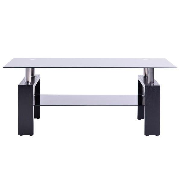 36 in. Black Medium Rectangle Glass Coffee Table with Wooden Legs