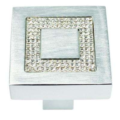 Boutique 1 3/8 In. Crystal And Brushed Aluminum Square Cabinet Knob