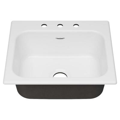 Quince Drop-in Cast Iron 25 in. 3-Hole Single Bowl Kitchen Sink in Brilliant White