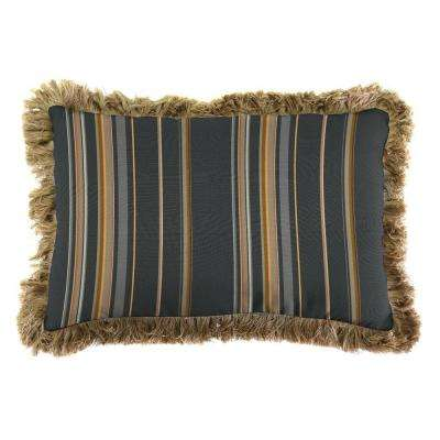 Sunbrella 9 in. x 22 in. Spectrum Carbon Lumbar Outdoor Pillow with Heather Beige Fringe