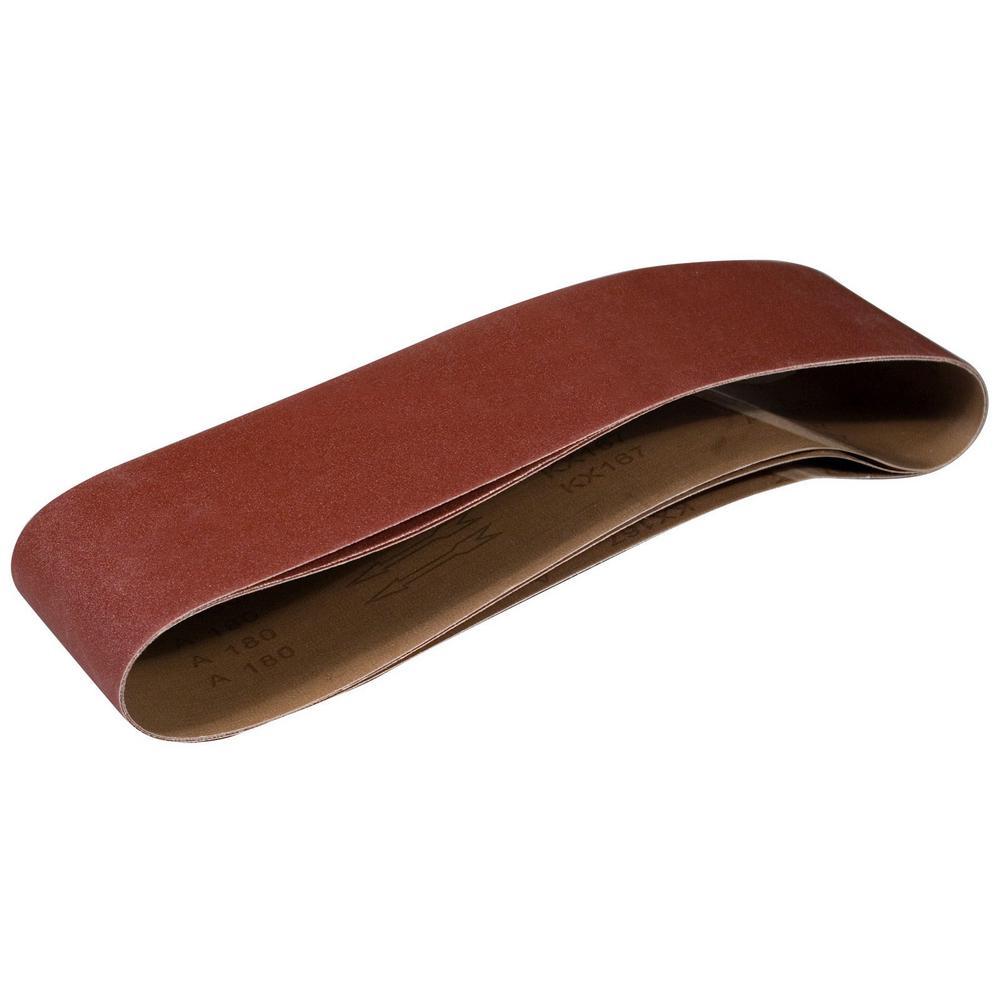 6 in. x 48 in. 80-Grit Aluminum Oxide Sanding Belt (3-Pack)