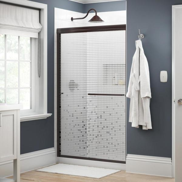Simplicity 48 in. x 70 in. Semi-Frameless Traditional Sliding Shower Door in Bronze with Mozaic Glass