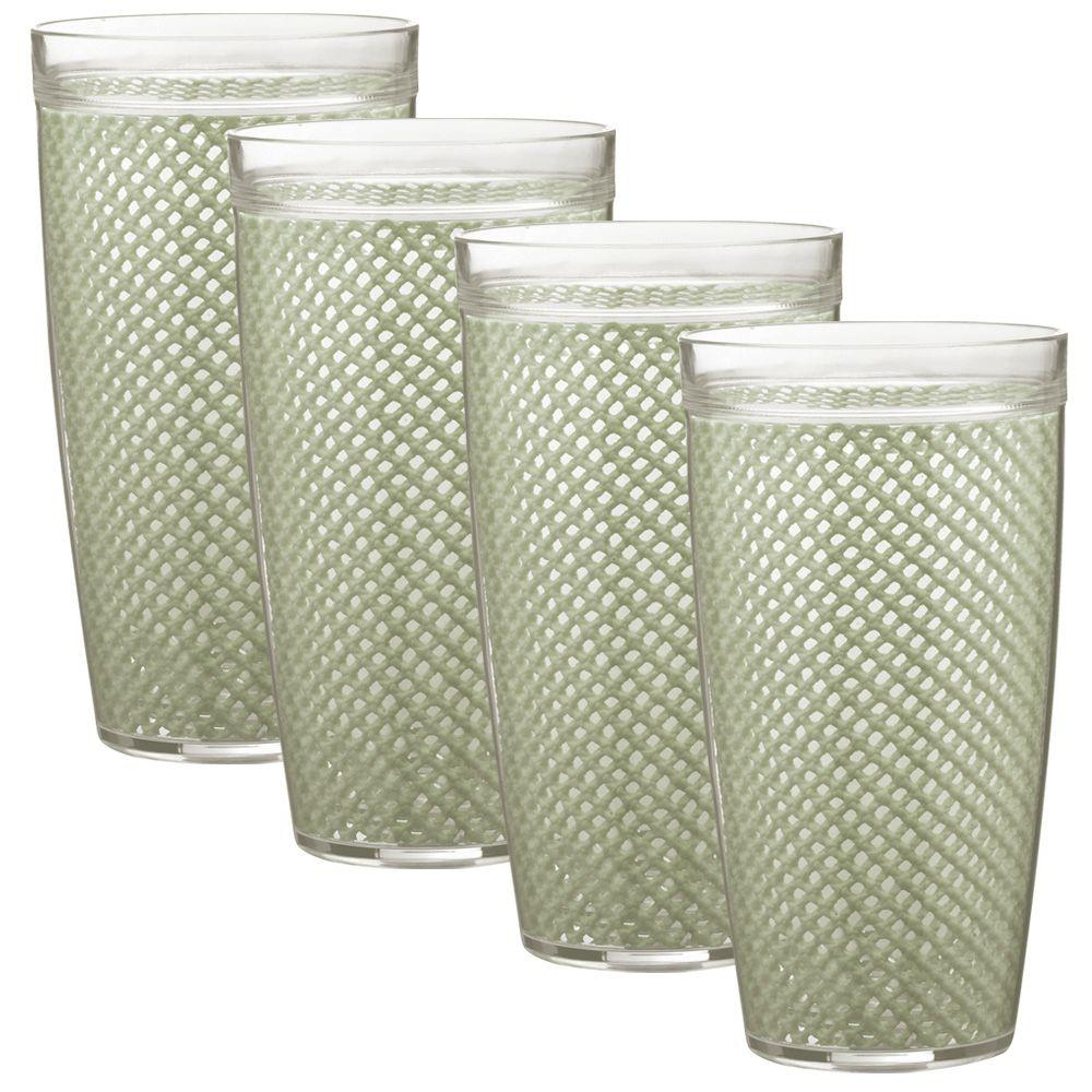 Kraftware Fishnet 24 oz. Sage Insulated Drinkware (Set of 4)-DISCONTINUED
