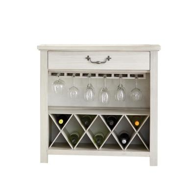 Harper's Branch Off White Wine Rack with Bottle and Stemware Storage