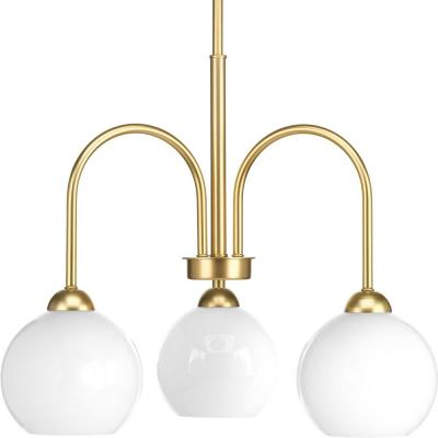 Carisa Collection 3-Light Vintage Gold Chandelier with Shade