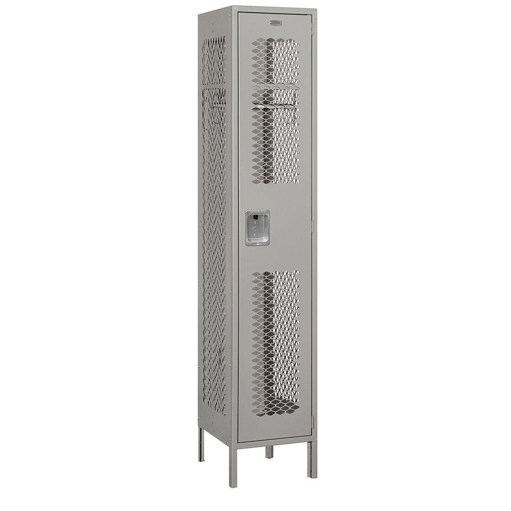 Salsbury Industries 81000 Series 15 in. W x 78 in. H x 18 in. D Single Tier Extra Wide Vented Metal Locker Assembled in Gray