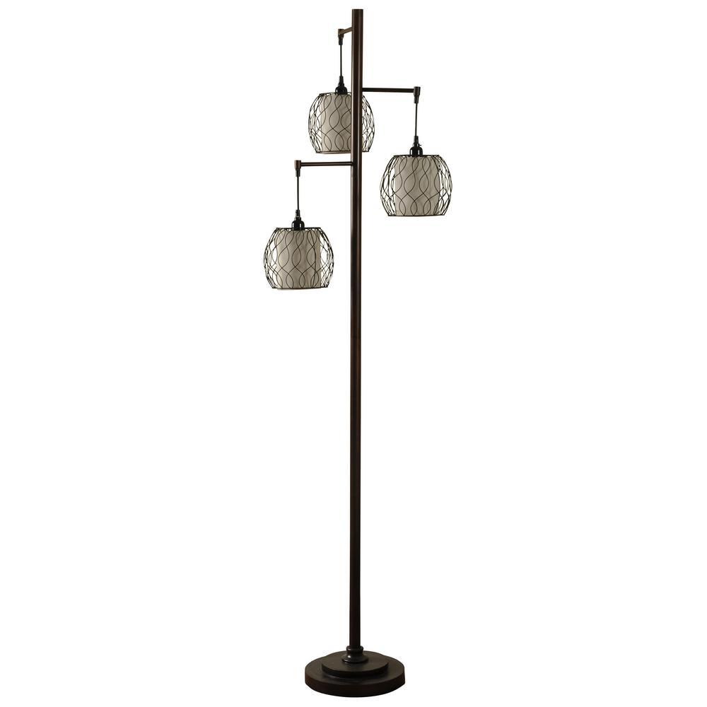72 in. Bronze Floor Lamp with Geneva Ivory Hardback Fabric Shade