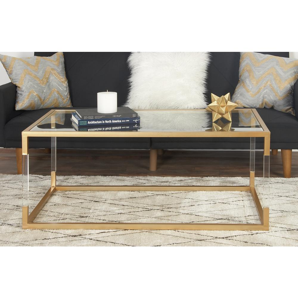 Gold Gilded Coffee Table: Litton Lane Clear And Metallic Gold Coffee Table-56933