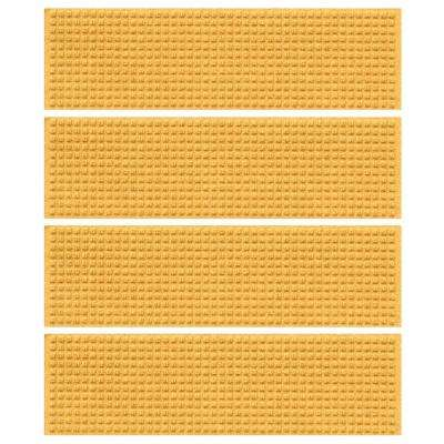 Yellow 8.5 in. x 30 in. Squares Stair Tread Cover (Set of 4)