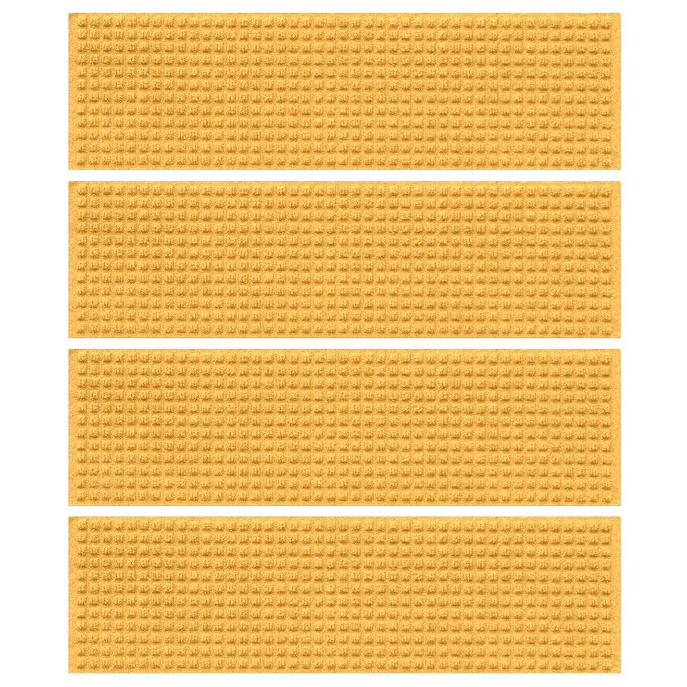 Yellow 8.5 in. x 30 in. Squares Stair Tread (Set of 4)