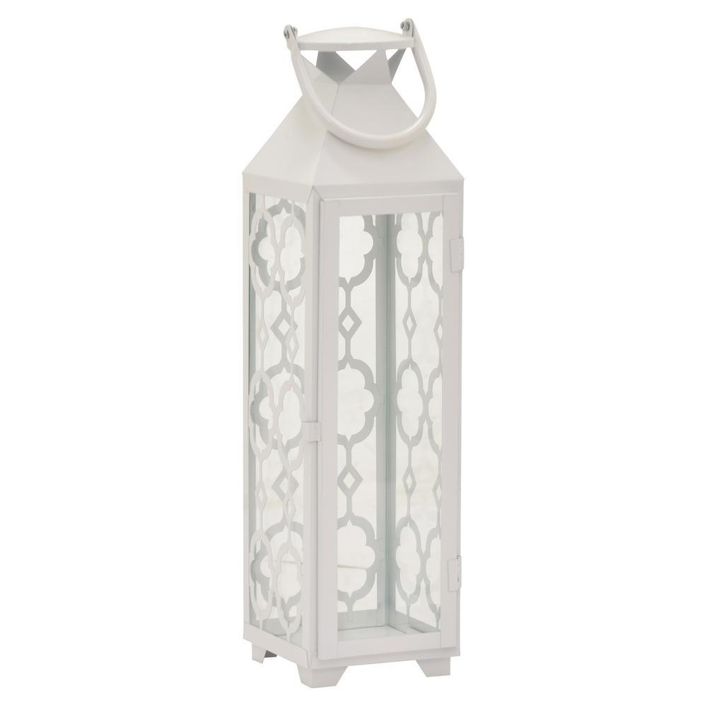20.75 in. White Metal Decorative Lantern