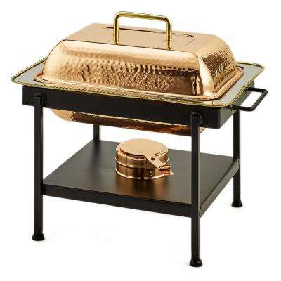 15 in. x 12 in. x 15 in. 4 Qt. Hammered Copper Chafing Dish