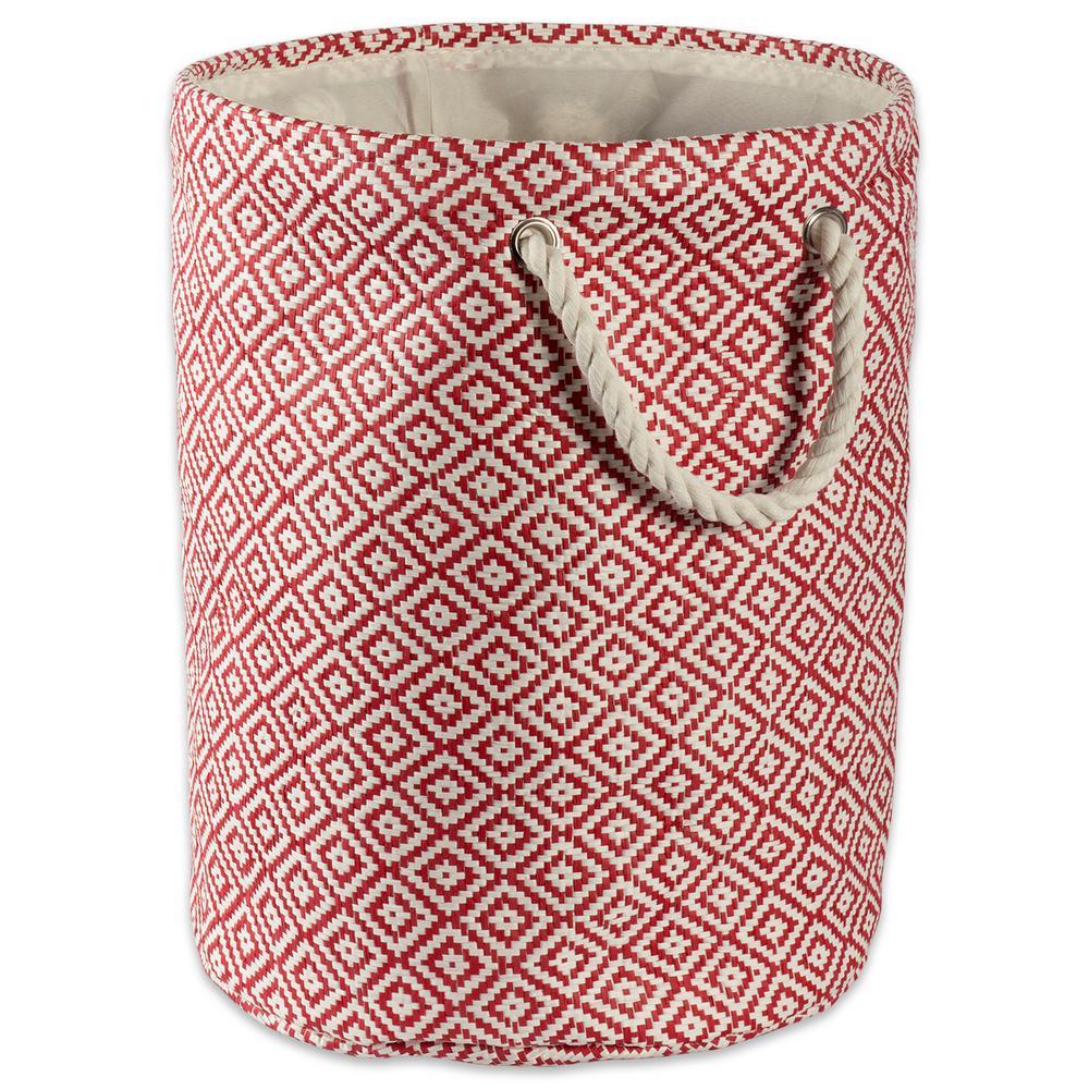 Round Woven Paper Geo Diamond Decorative Bin