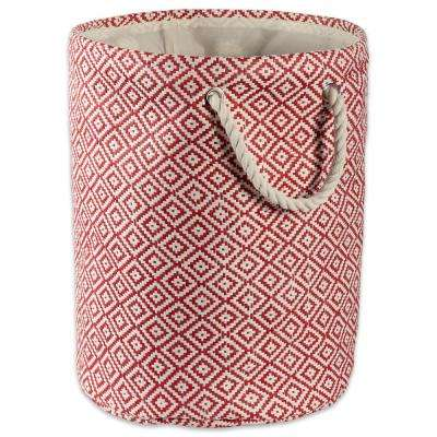 Round Woven Paper Geo Diamond Decorative Bin