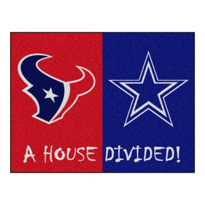 NFL Texans / Cowboys Red House Divided 3 ft. x 4 ft. Area Rug