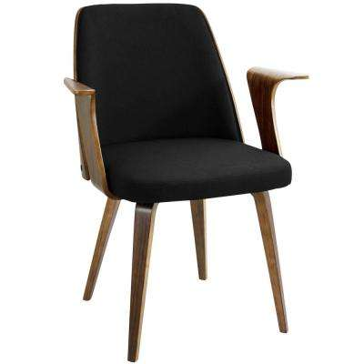 Verdana Walnut and Black Accent Chair