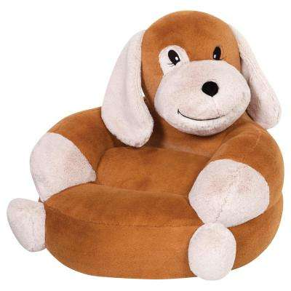Brown, Tan Children's Plush Puppy Character Chair