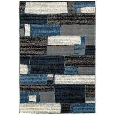Adana Charcoal and Blue 9 ft. 2 in. x 12 ft. 6 in. Plush Indoor Area Rug