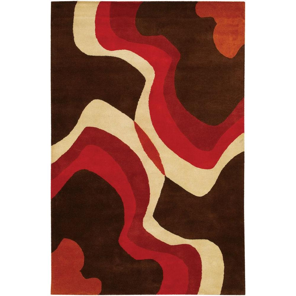 Chandra Daisa Brown Red Cream 5 Ft X 8 Ft Indoor Area Rug Dai14