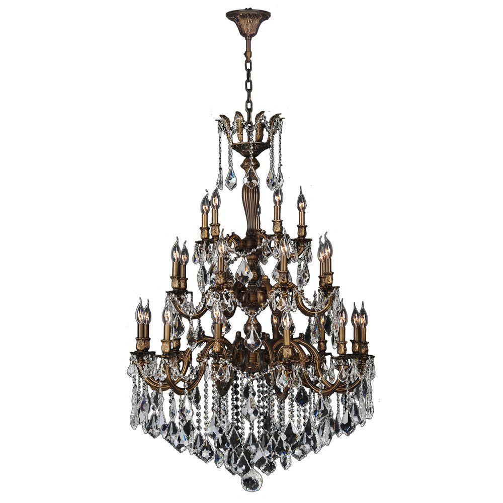 Worldwide Lighting Versailles Collection 25-Light Antique Bronze 3-Tier Chandelier with Clear Crystal
