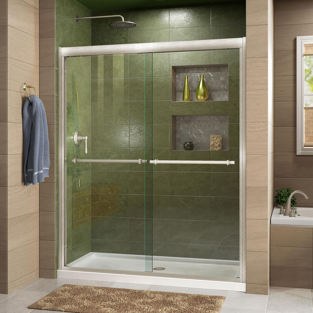 DreamLine Duet 30 in. D x 60 in. W x 74.75 in. H Framed Sliding Shower Door in Brushed Nickel and Center Drain White Acrylic Base