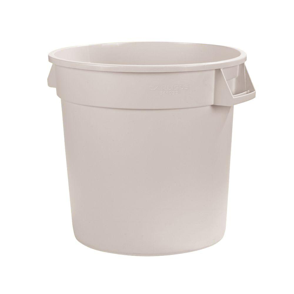 Carlisle Bronco 10 Gal White Round Trash Can 6 Pack