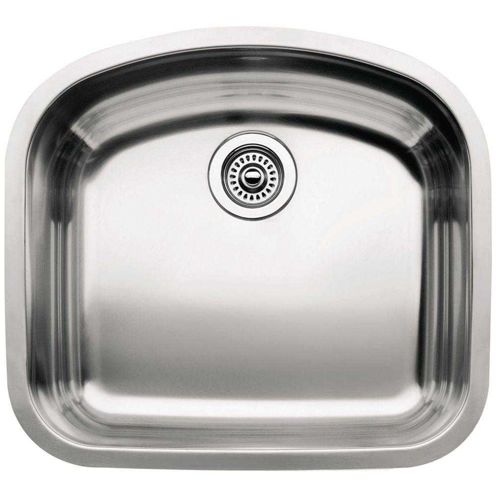 Blanco Wave Undermount Stainless Steel 22 in. Single Bowl Kitchen ...