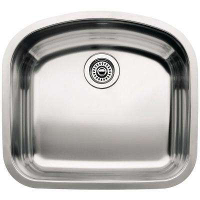 Wave Undermount Stainless Steel 22 in. Single Bowl Kitchen Sink