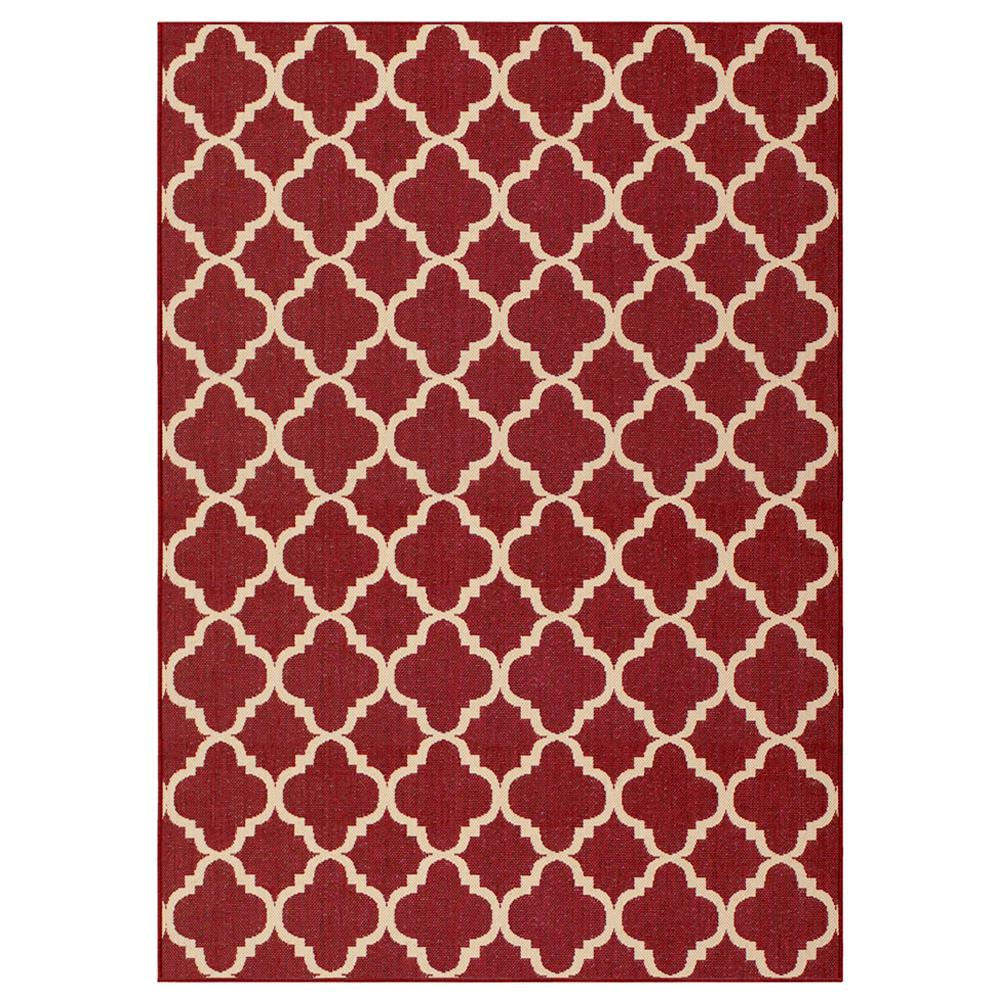 Hampton Bay Trellis Red Reversible 5 ft. x 7 ft. Indoor/Outdoor Area ...
