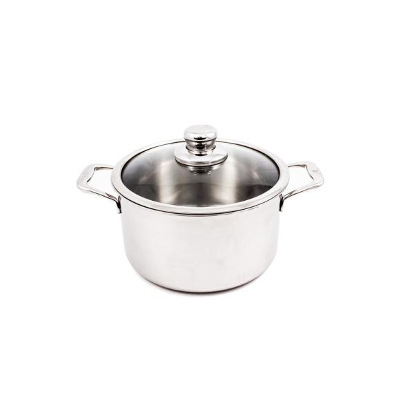 Premium Clad 6.3 qt. Round Stainless Steel Dutch Oven with Glass Lid