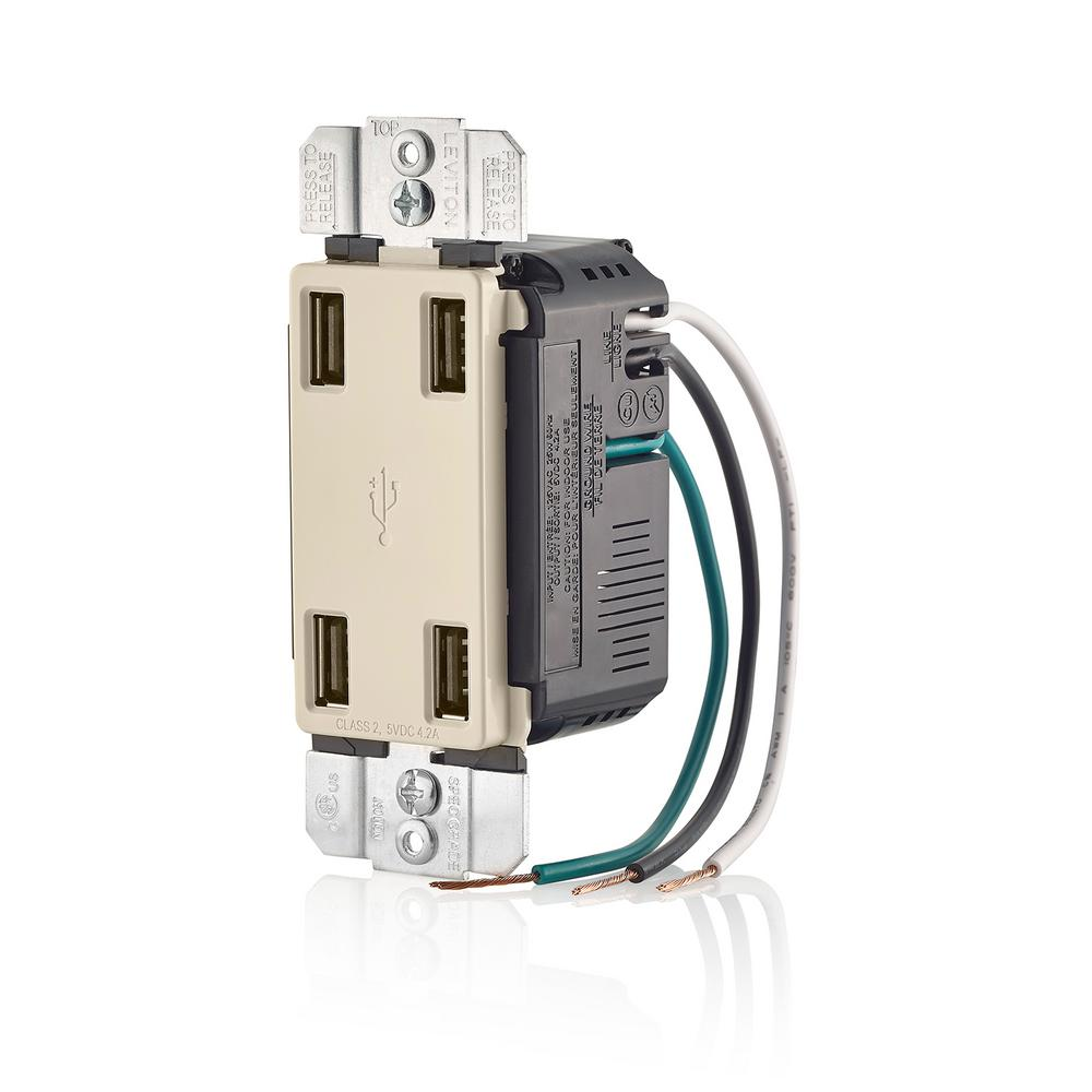 Leviton Usb Port Wiring Devices Light Controls Electrical Charger 42 Amp Decora 4 Combo Outlet Almond