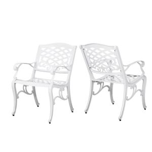 Phoenix White Armed Aluminum Outdoor Dining Chair (2-Pack)