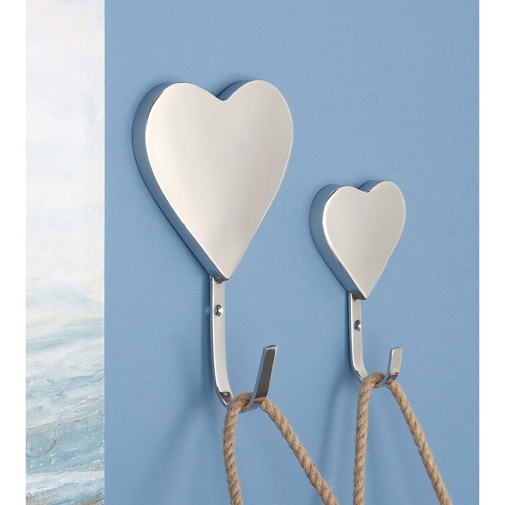Silver Stainless Steel Heart Wall Hooks (Set of 2)