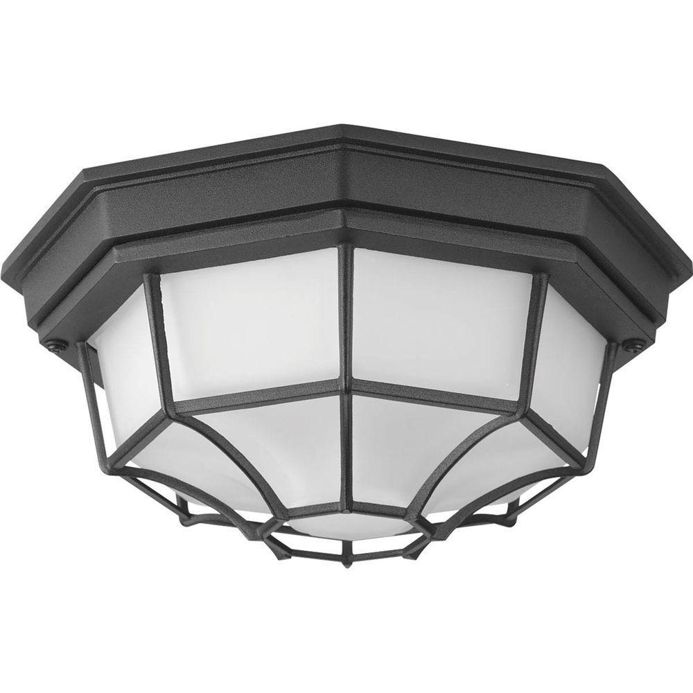 Milford LED Collection 1-Light Black LED Outdoor Flushmount